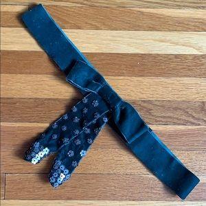 Green Velvet Stretchy Bow Belt